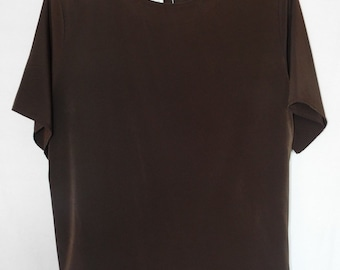Jack Mulqueen Chocolate Brown Blouse With Back Button Clousure