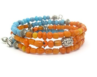 Turquoise Bracelet, Orange Bracelet, Color Block Wrap, Yoga Zen Blue Tangerine, Butterfly Heart Charm Bracelet, Memory Wrap Jewelry