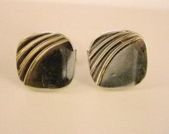 Men's Silver Tone Square Cuff Links Accessories