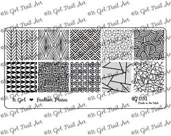 IG101 Nail Art Stamping Plate - geometric, art deco, shatter, maze, penrose