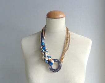 Blue tribal statement, blue yellow necklace, blue gold necklace,  colorful necklace, chains necklace