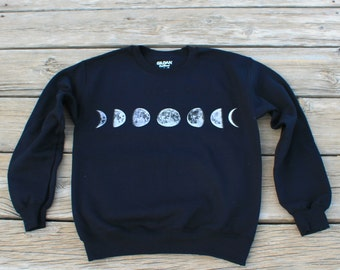 Moon Phases Black Long Sleeve Sweatshirt
