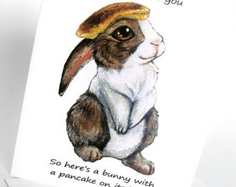 Funny Card, Pancake Bunny Greeting Card, Cute Rabbit Art Card, Personalized Card, Birthday Card, Thank You Card, Anniversary Card