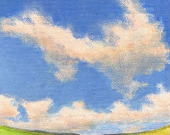 Summer Hills - Landscape Painting on Canvas 8x8 Clouds Green Valley Hills Sky