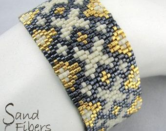 Elegant Crossed Diamonds Mosaic Cuff - A Sand Fibers Original Creation