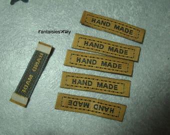 "PAC2) set of 10 labels sewing ""HandMade""-> ""Handmade"" Brown 4.5 cm"