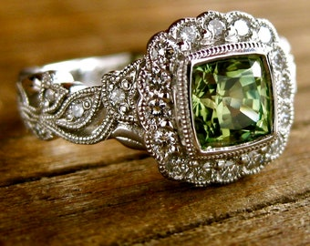 Green Sapphire & Diamond Ring in 14K White Gold with Flowers and Leafs on Vine Motif Size 8