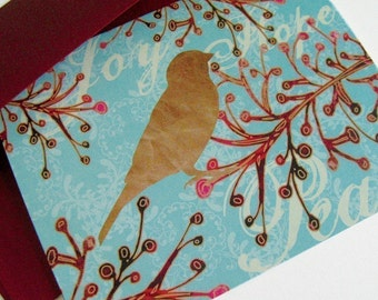 Set of 8 - Holiday Card Set - Cranberry Bird Branch - Peace, Joy, Hope