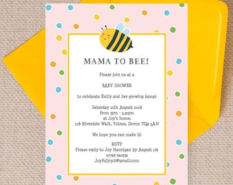 Personalised Pink Bumble Bee Baby Shower Invitation Cards