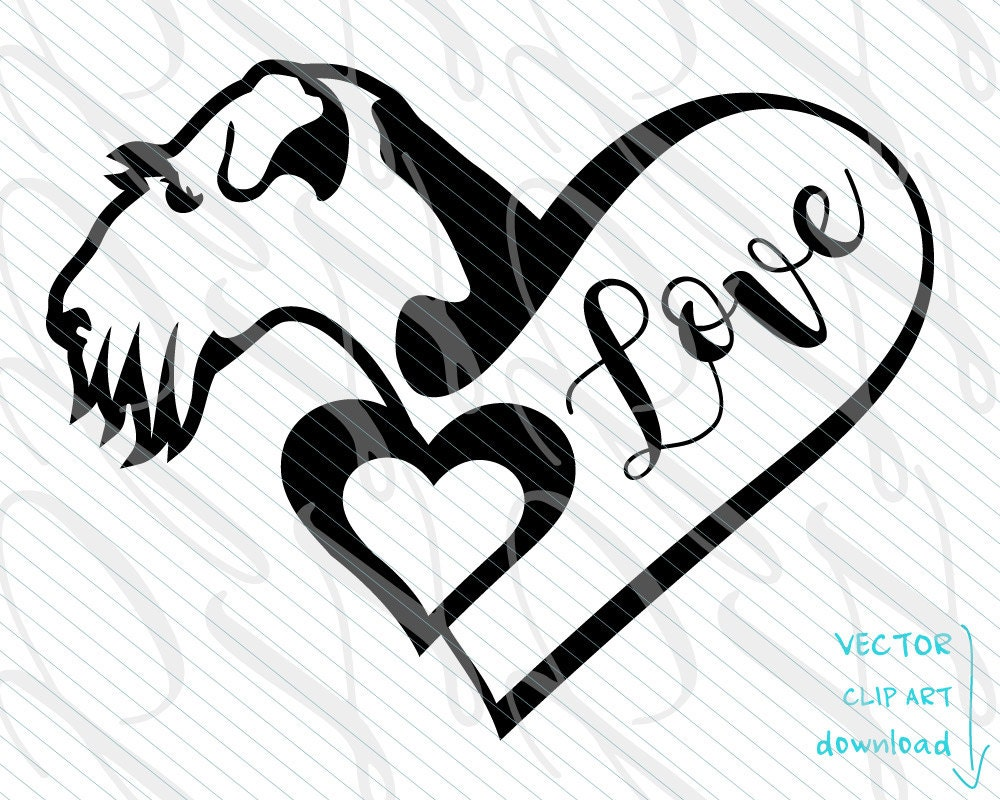 Line Art Of Heart : Airedale dog svg ink heart love tattoo vector art file.