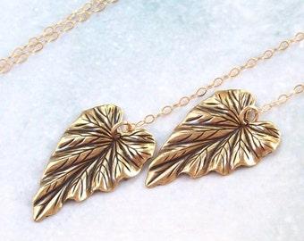 SALE Gold Leaf Necklace, Leaf Lariat Necklace, 14K gold filled, matte, spring fashion, filigree, leaves, minimal, mothers day
