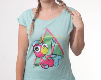 Hoof Hooping Unicorn mint coloured top