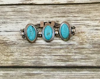 Turquoise and Sliver Beaded Bracelet Faux