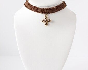 Vintage 1990s Brown Rhinestone Cross Choker Necklace