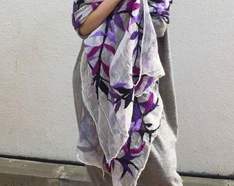 Lavendar Gauze , Fine Merino Wool , Nuno Felted Scarf, Gift for mom Pink scarf Gift for women, Merino scarf