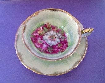 Royal Sealy China Japan Green Purple White Floral Teacup And Saucer, Footed Tea Cup Duo
