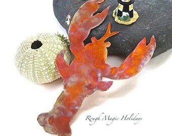 Maine Lobster Souvenir Ornament, Rustic Copper Door Hanger, Metal Wall Hanging, Cottage Chic Beach Decor, Christmas Tree Holiday Decoration