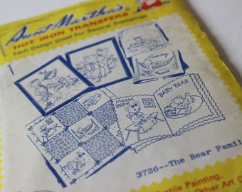 Vintage Aunt Martha's Hot Iron Transfers Days of the Week Colonial Patterns, Inc Transfer Patterns Monday Tuesday Wednesday Thursday Friday