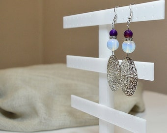 Silver filigree greek meander and moonstone and purple agate stone beads