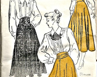 1940's New York Sewing Pattern 246  Circular Skirt with Cumberband or Bow Sash Waist 26 inches