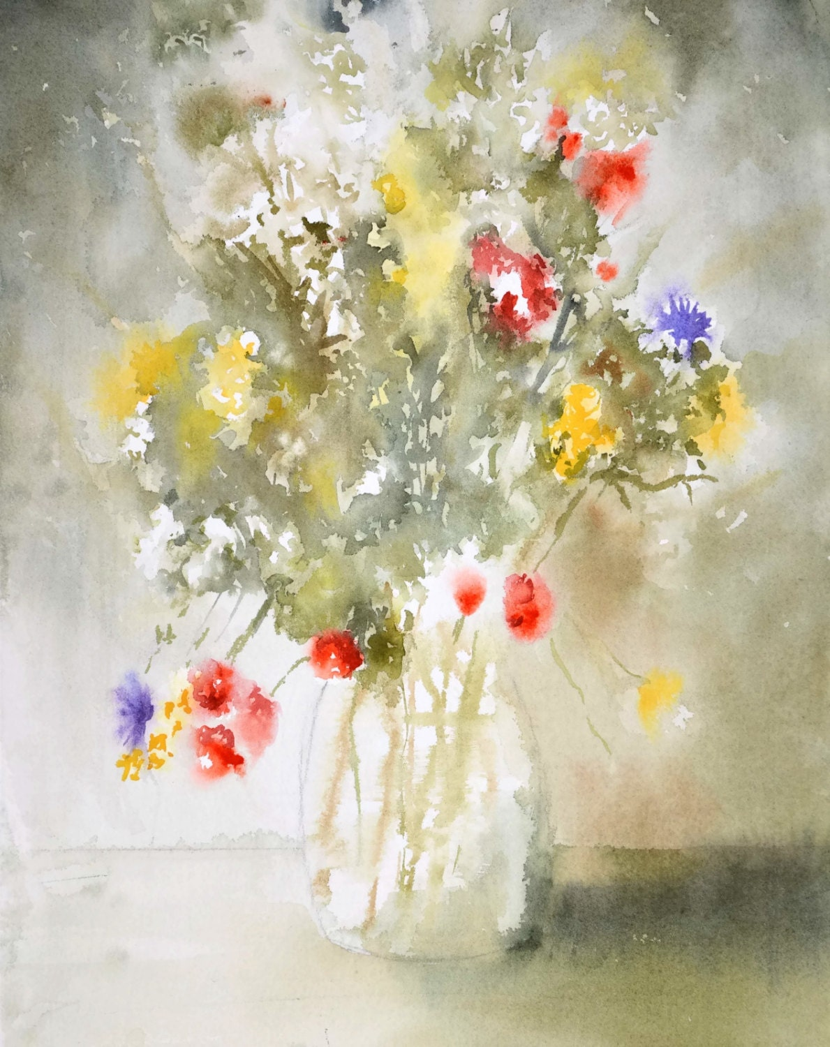 Bouquet painting print flower in a vase watercolor zoom mightylinksfo