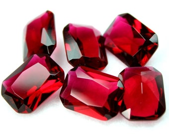 2 Pcs Glass Jewel 18x13mm Octagon Faceted Diamond Cut Unfoiled, Undrilled - Rose Red BR135