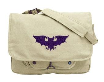 Baroque Bat Embroidered Canvas Messenger Bag