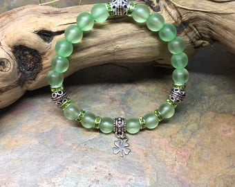 Irish Pride   St. Patrick's Day Shamrock   Lucky Four Leaf Clover   Green Bracelet   Irish Jewelry