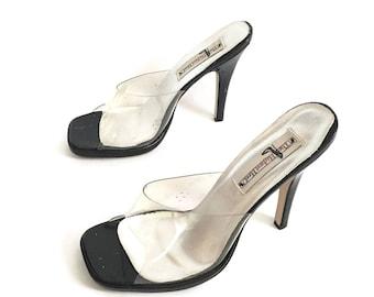 Lucite Clear transparent platform slide open toe mules heels size 8