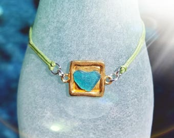 Real Heartshape Seaglass Bracelet