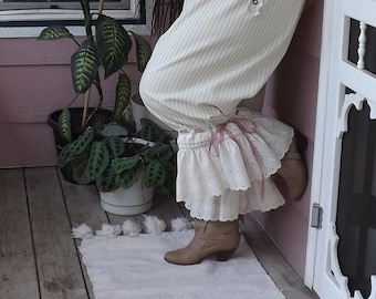 Plus Size Women's Bloomers Victorian Shabby Chic Celery Ticking Stripe