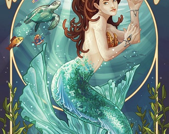 Whidbey Island, Washington - Mermaid (Art Prints available in multiple sizes)