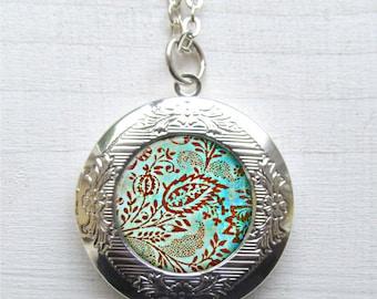 Boho Locket, Photo Locket, Gypsy Style Jewelry, Locket Necklace