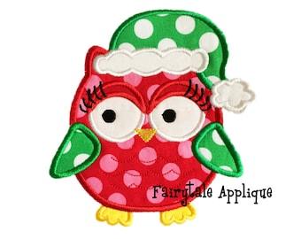 Digital Machine Embroidery Design - Sassy Santa Owl Applique