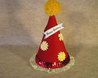 Children's Red Felt Birthday Hat with Yellow Pom Pom, Flowers and Trim