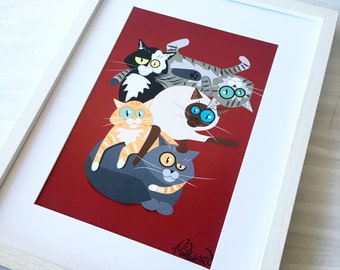Cat home decor 'cat stack' illustration print