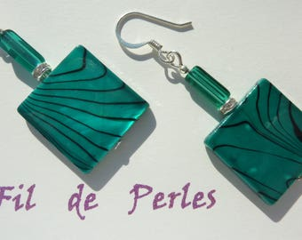 """""""mother of Pearl turquoise"""" silver plated earring"""