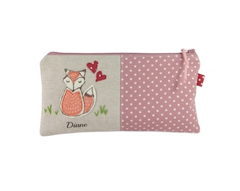 Fox Pencil Case for Girls, Personalised, Large Pencil Bag, Pink Polka Dot Pencil Holder, Gift Under 20, Fox Zip Pouch
