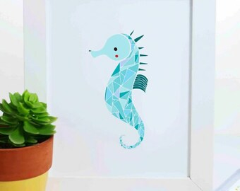 Seahorse Art Print, Sea Horse Illustration, Nautical Art Print, Nursery Decor, Sea Creature Art Print, Ocean Art, Under the Sea Art Print