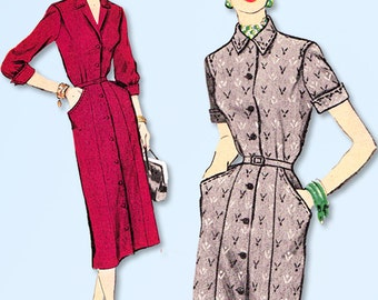 1950s Vintage McCalls Sewing Pattern 9903 Misses Slender Shirtwaist Dress Sz 32B