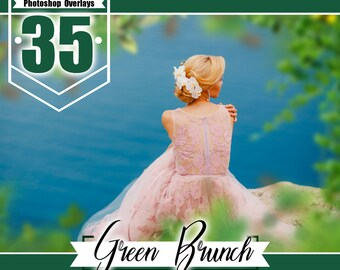 35 green brunch photoshop overlays, shooting through branches, tree, green, leaves, spring, summer wedding baby photo, PNG files