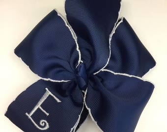 Any Initial, Monogram Hair Bow, Crochet Trim, Navy Blue, Large Uniform, Basic Rustic, Ribbon Clippie, Boutique Initial, Embroidered School