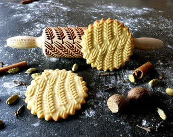 Embossing rolling pin, laser engraved small rolling pin, gift for christmas, GRAIN