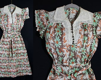 1930s Day Dress, Novelty Print, Reenactment Costume, AS IS