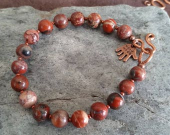 "BRECCIATED JASPER BEADED Bracelet with Copper Clasp. Available in 6 to 9"" Wrist Size. Rust Red Brown 8mm Round Stone Beads. Mens Womens Mala"