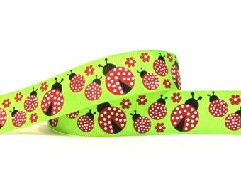 "7/8"" Green Ladybug Grosgrain Ribbon - 5 Yards"
