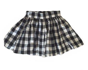 Black gingham retro gathered girl's skirt