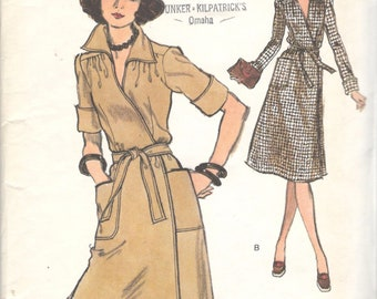 Vogue 9403 1970s Misses Wrapped A Line Dress Pattern Very Easy Womens Dress Pattern Size 12 Bust  34
