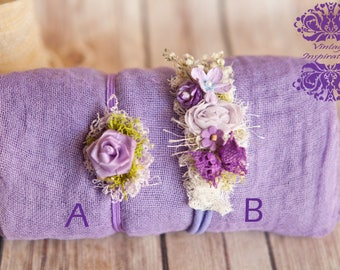 Heavenly Hyacinth Lavenders Newborn Wrap Set in 100% cotton gauze coordinating Gorgeous head ties Your Choice gauze swaddle Violet Lavender
