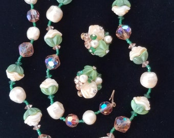 Vendome Necklace and Earring Set, Molded Glass Green Leaves and Cream Flowers, Faceted Glass Beads, Champagne and Green Spacer Beads Vintage